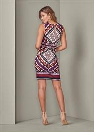 Back View Geometric Print Dress