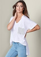 embellished pocket tee