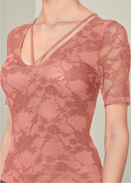 Alternate View Strappy Detail Lace Top