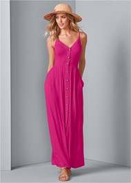 Alternate View Button Front Maxi Dress