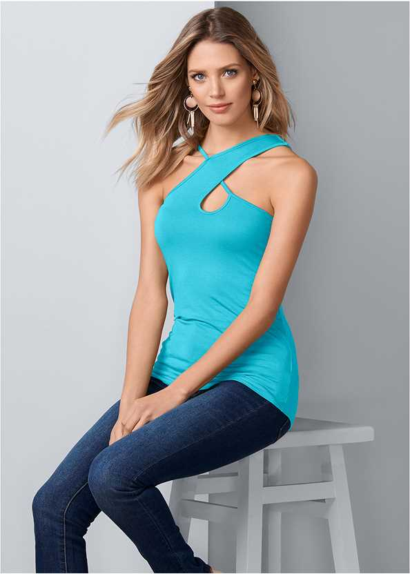 Strappy Keyhole Top,Mid Rise Color Skinny Jeans