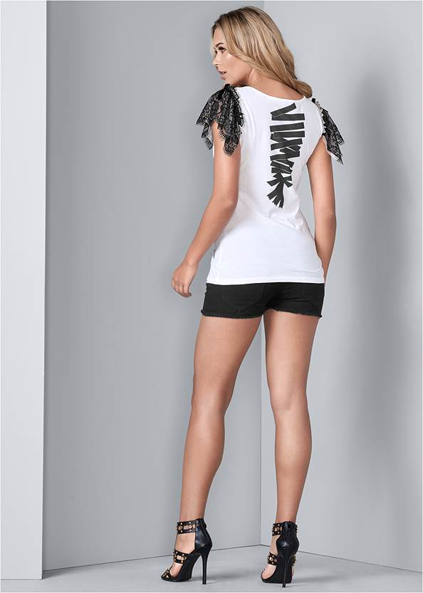 Alternate View Lace Sleeve Graphic Top