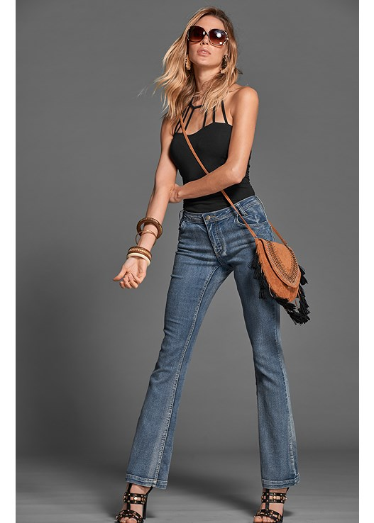 CASUAL BOOT CUT JEANS,STRAPPY DETAIL TOP,STUDDED HEELS,STEVE MADDEN SUNGLASSES