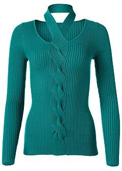 plus size neck detail sweater