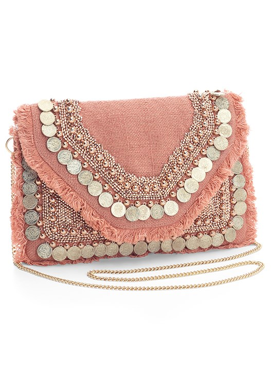 COIN EMBELLISHED HANDBAG
