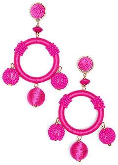beaded bauble hoop earrings