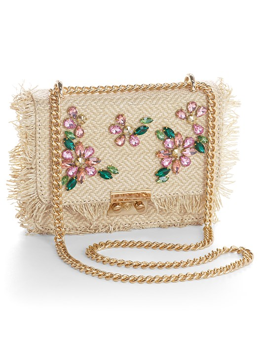 FLOWER EMBELLISHED HANDBAG,EYELET DETAIL DRESS