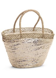 Front View Sequin And Straw Tote