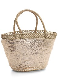 Back View Sequin And Straw Tote