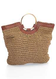 Front View Ring Handle Straw Tote