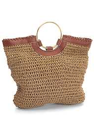 Back View Ring Handle Straw Tote