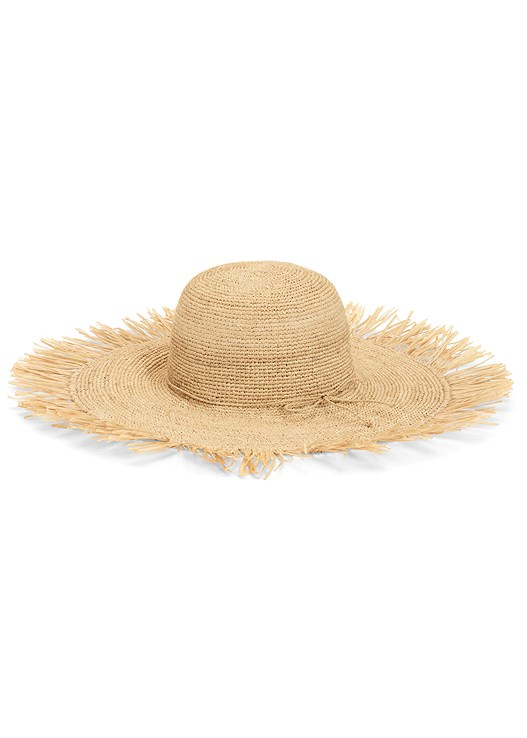 STRAW FRINGE HAT,PRINTED CASUAL DRESS
