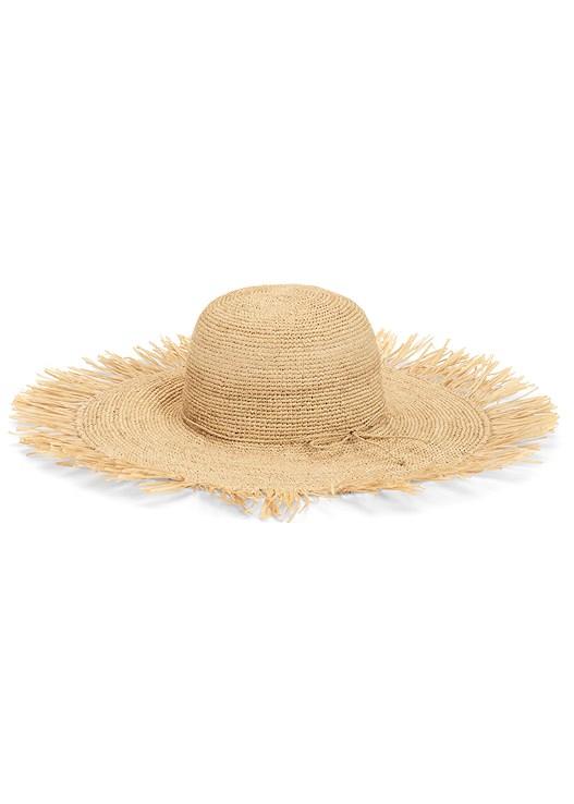 STRAW FRINGE HAT,PRINTED CASUAL DRESS,EMBELLISHED THONG SANDALS
