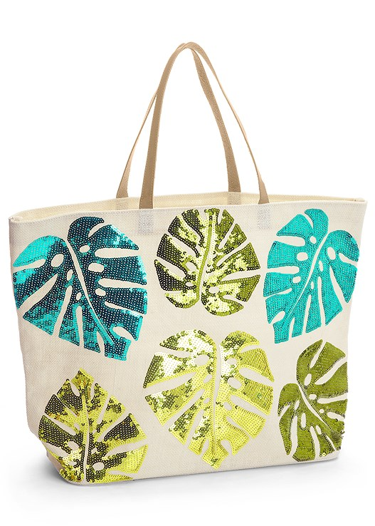TROPICAL TOTE BAG,SLIMMING DRAPED ONE-PIECE