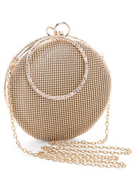 Front View Ring Handle Circle Clutch