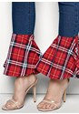 Alternate View Plaid Trim Jeans