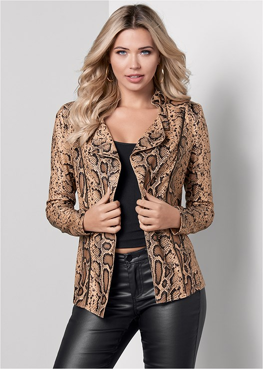 SNAKE PRINT JACKET,SEAMLESS CAMI,FAUX LEATHER PANTS,CAGE BALCONETTE BRA,CUT OUT DETAIL HEELS,MIXED EARRING SET