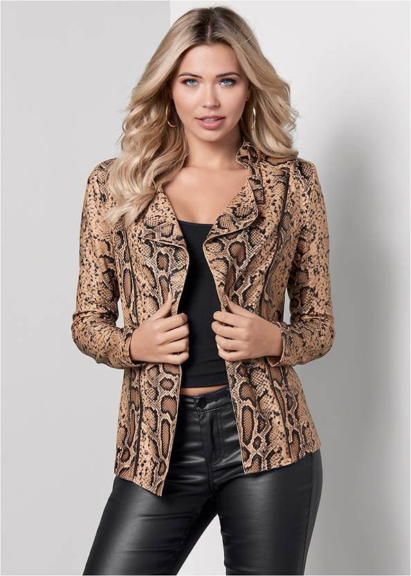 Front View Snake Print Jacket