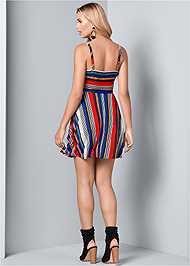 Back View Mixed Stripe Dress