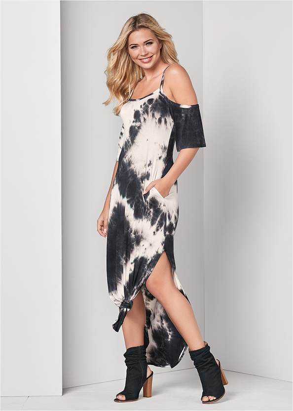 Front View Casual Tie Dye Maxi Dress