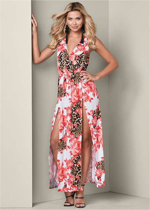 HIGH SLIT MAXI DRESS,HIGH HEEL STRAPPY SANDAL,LONG TASSEL EARRINGS