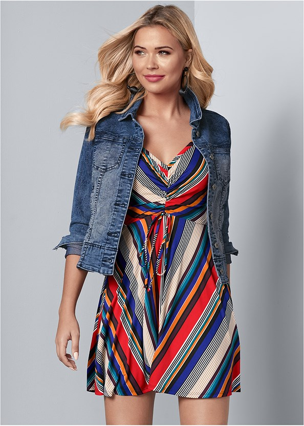 Mixed Stripe Dress,Jean Jacket,Open Heel Booties,Bauble Hoop Earrings