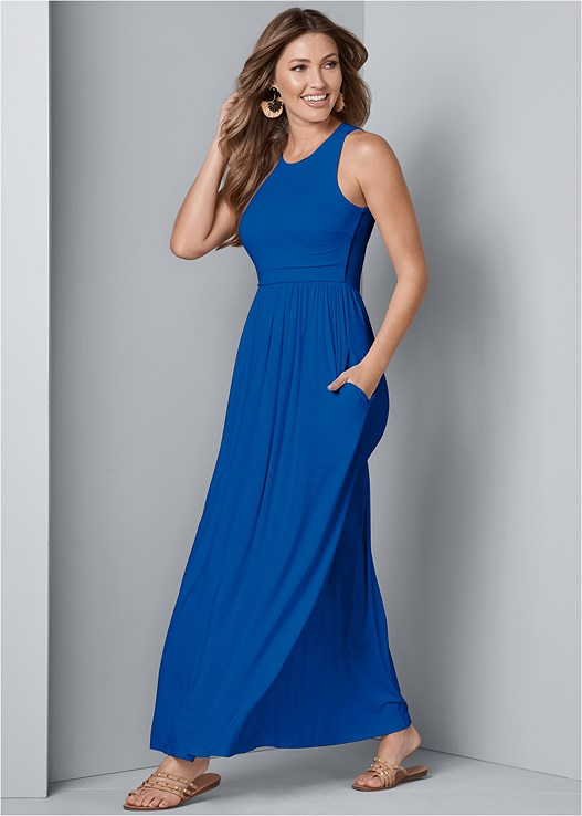 MAXI DRESS WITH POCKETS,STUDDED STRAPPY SANDAL