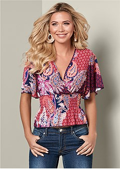 smocked surplice print top