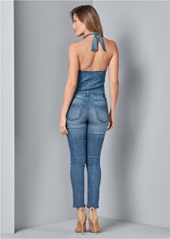 Back View Denim Jumpsuit
