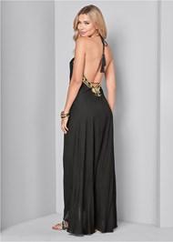 Back View Embellished Trim Maxi Dress