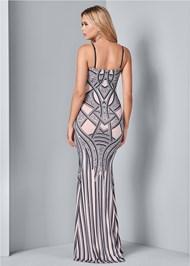 Back View Embellished Long Dress