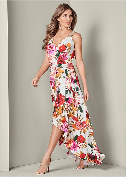 FLORAL PRINT MAXI DRESS,HIGH HEEL STRAPPY SANDALS