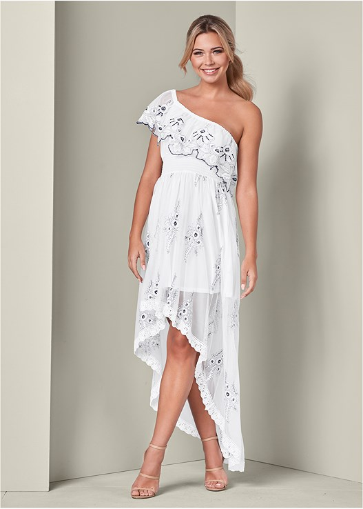 HIGH LOW EMBROIDERED DRESS,HIGH HEEL STRAPPY SANDAL