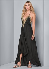 Front View Embellished Trim Maxi Dress