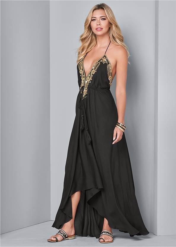Embellished Trim Maxi Dress,Oversized Tassel Earrings