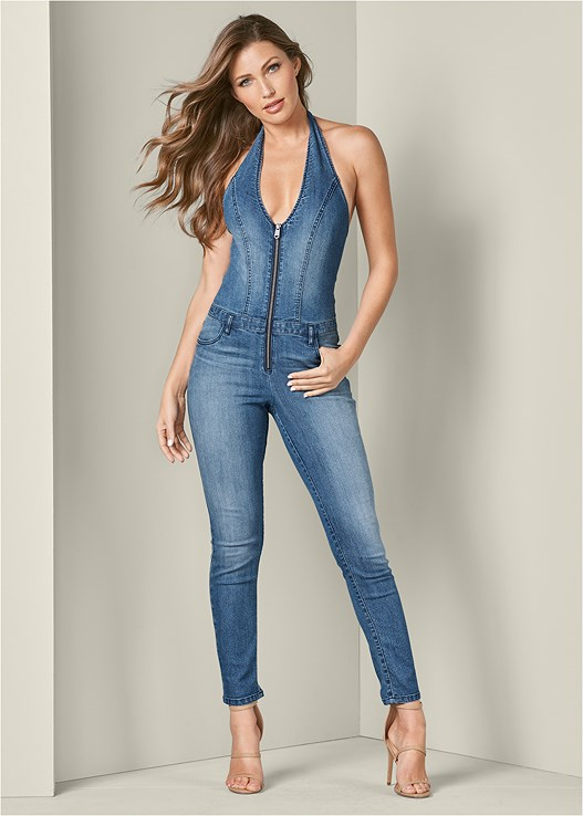 DENIM JUMPSUIT,FULL FIGURE STRAPLESS BRA,HIGH HEEL STRAPPY SANDALS,LONG RIBBED DUSTER,CIRCLE DETAIL BOOTIES,MEDALLION EARRINGS