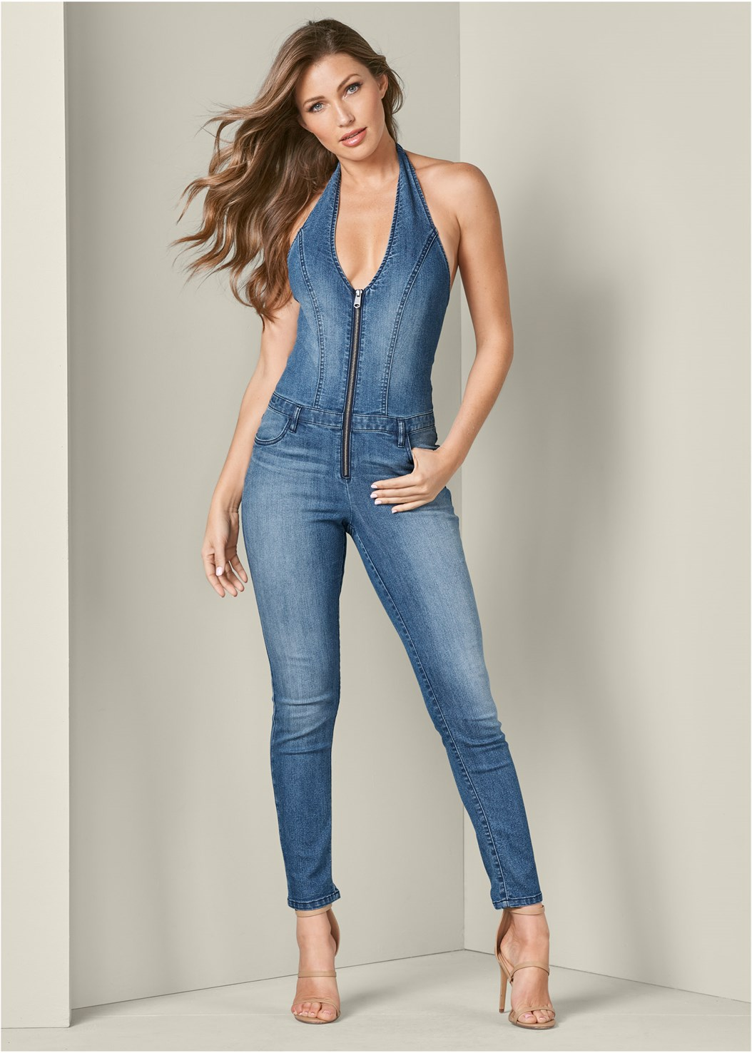 Denim Jumpsuit,High Heel Strappy Sandals,Long Ribbed Duster,Circle Detail Booties,Medallion Earrings