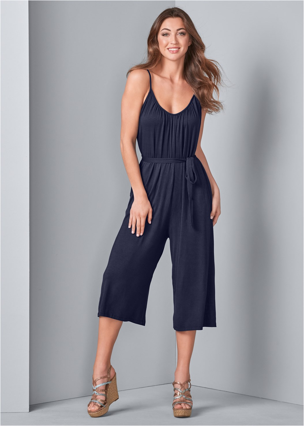 Casual Jumpsuit,Long Ribbed Duster,Beaded Heels,Embellished Slides,Ring Handle Circle Clutch