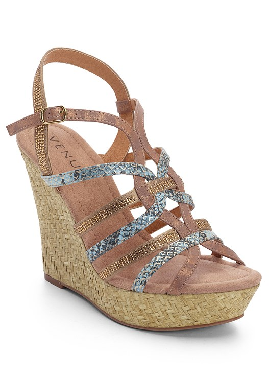 STRAPPY SNAKE PRINT WEDGE