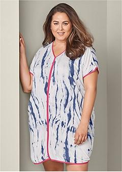 plus size tie dye sleep dress