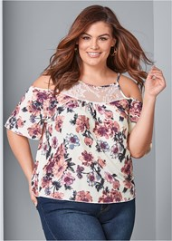 Front View Cold Shoulder Floral Top