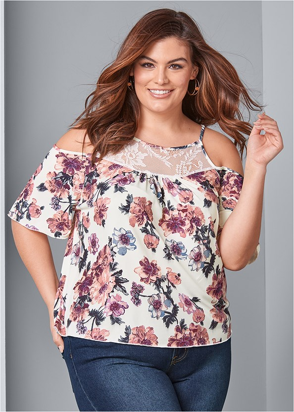 Cold Shoulder Floral Top,Mid Rise Color Skinny Jeans