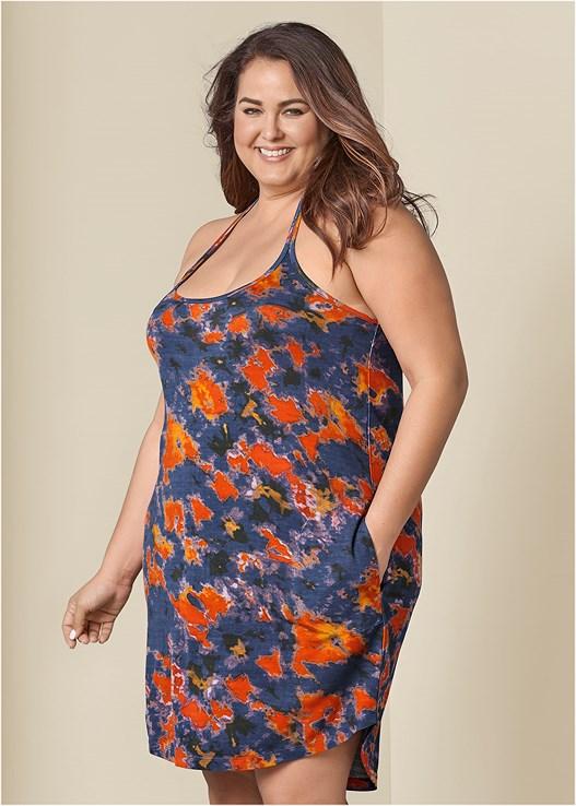 Plus Size TIE DYE TANK DRESS in Blue Multi | VENUS
