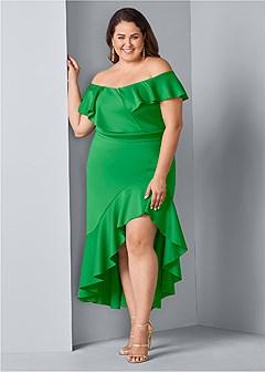 plus size high low ruffle dress