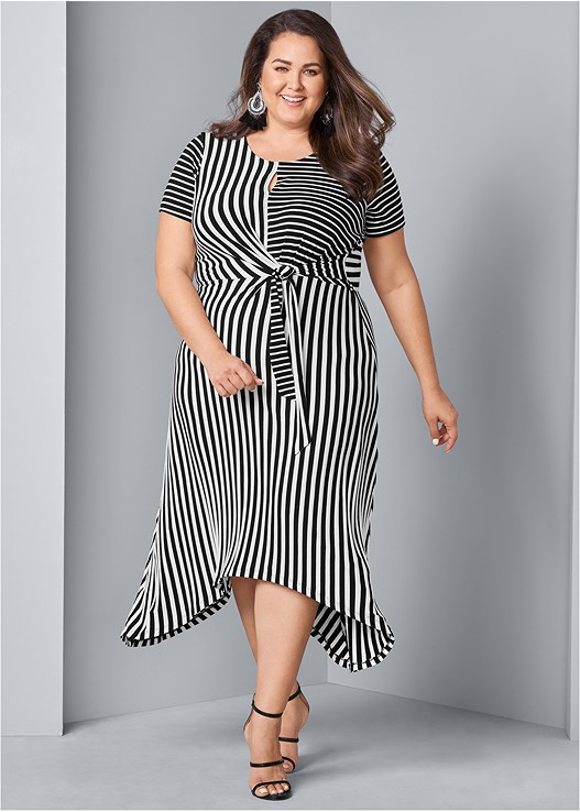 5387ec59a16 Plus Size STRIPED FAUX WRAP DRESS