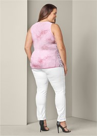 Back View Lace Detail Tie Dye Top