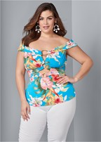 plus size off the shoulder ring top