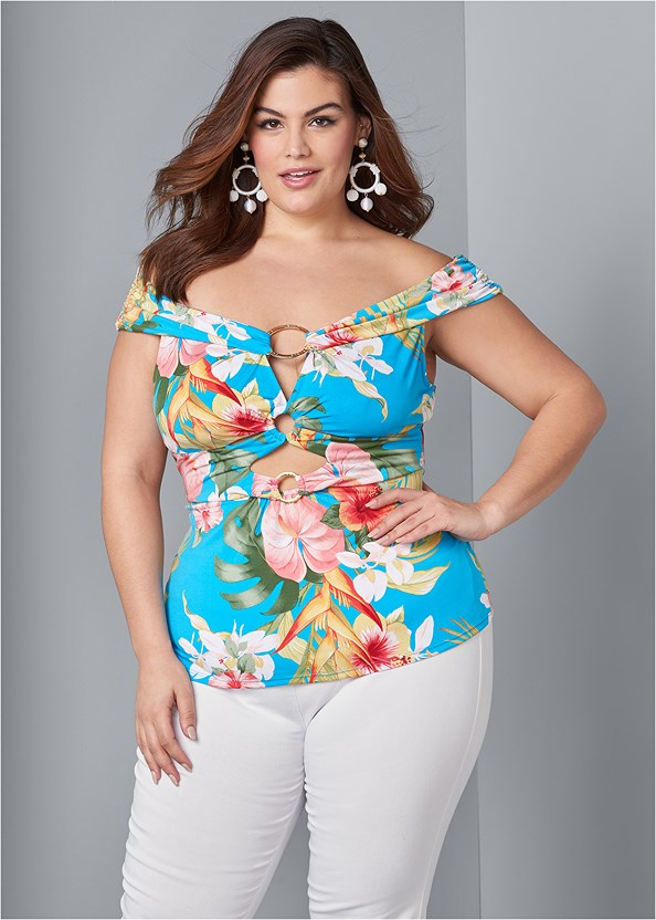 Off The Shoulder Ring Top,Mid Rise Slimming Stretch Jeggings,High Heel Strappy Sandals