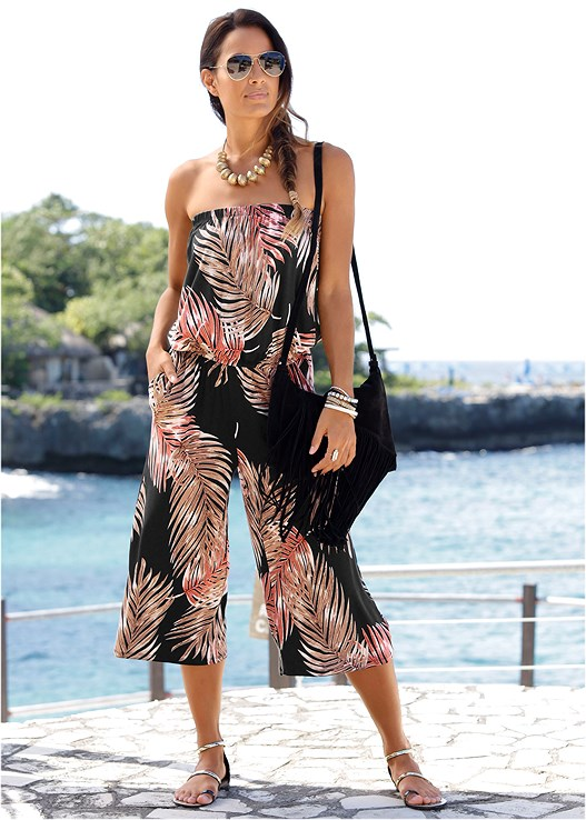 PALM PRINT JUMPSUIT,CONVERTIBLE LACE PUSHUP BRA,BRAIDED DETAIL WEDGES,STEVE MADDEN SUNGLASSES