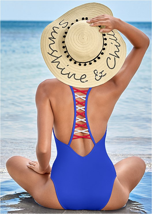 STRAPPY RACERBACK ONE-PIECE,BEACHY TANK COVER-UP,STRAW FRINGE HAT,STEVE MADDEN SUNGLASSES